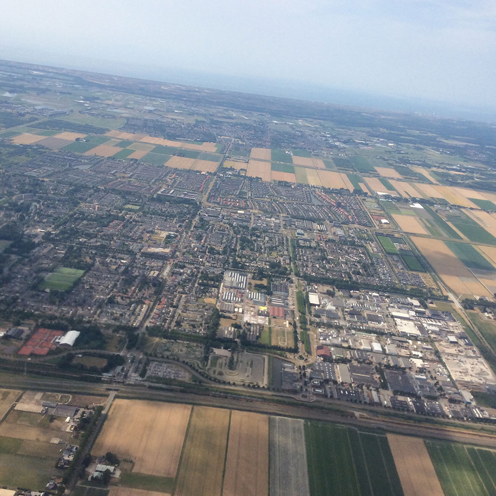 Street and countryside aerial view of the Netherlands