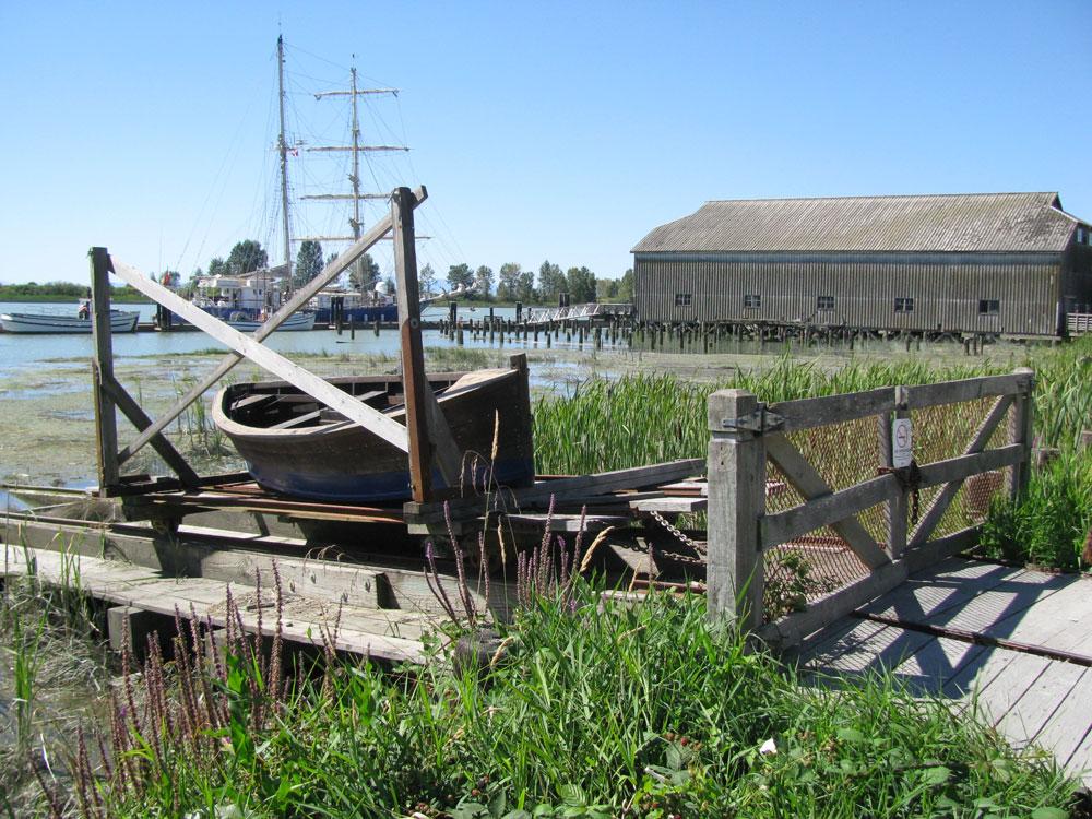 row boat and shoreline scene in Richmond BC
