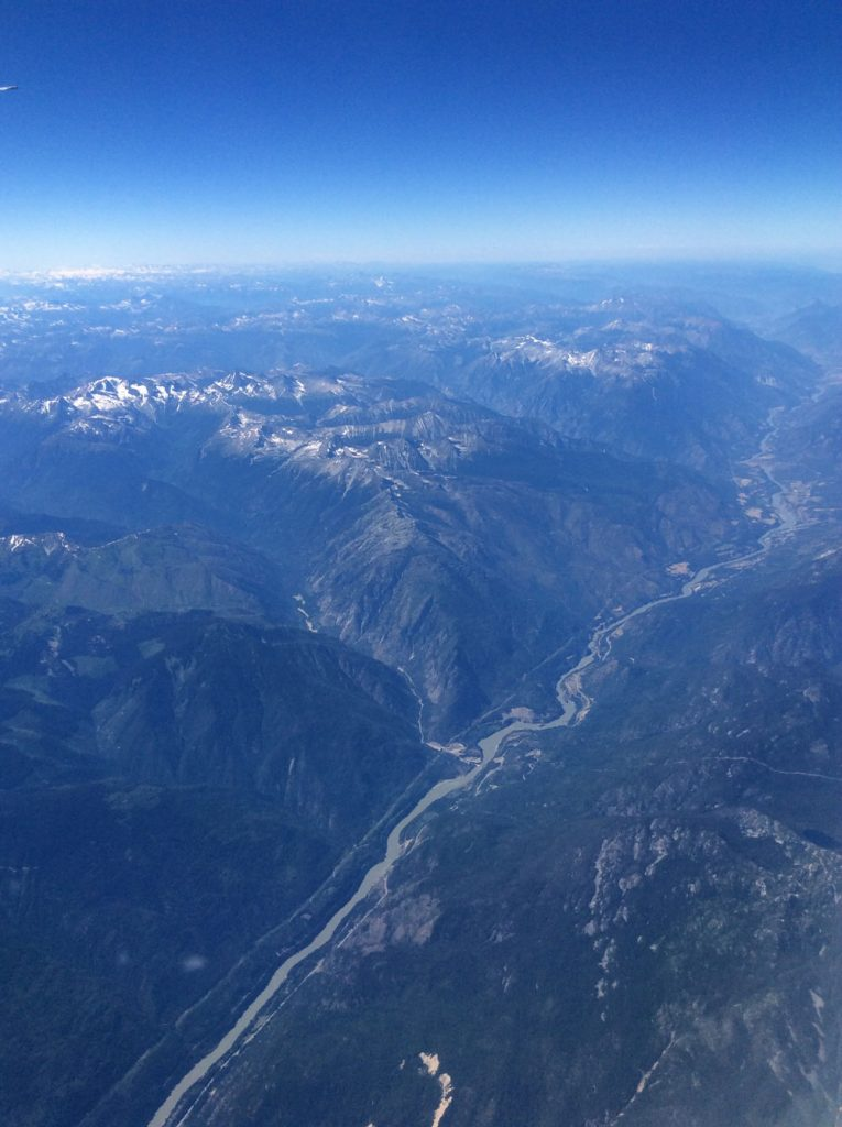 Aerial view of mountains in British Columbia