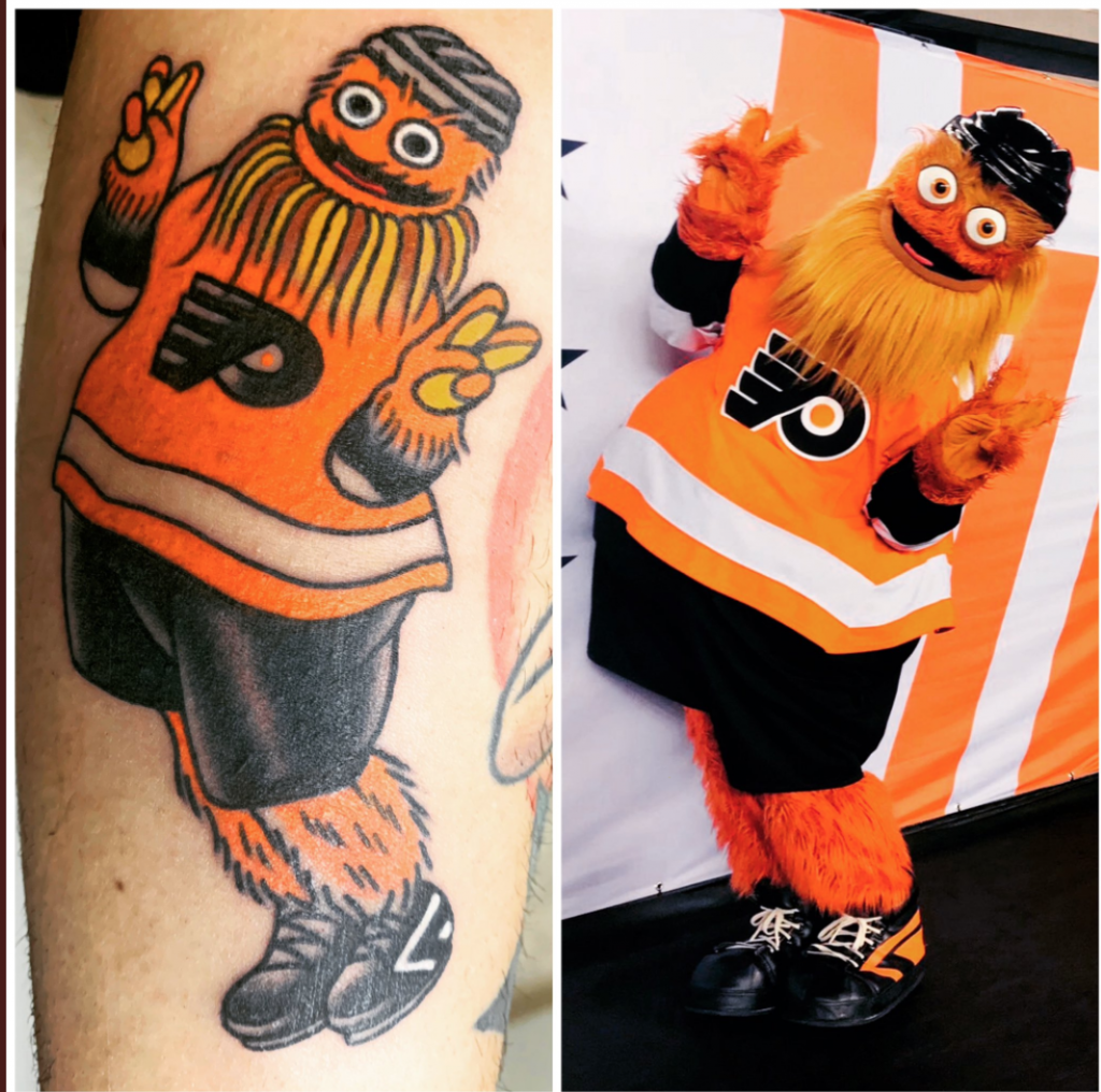 Side-by-side images of a tattoo of Gritty and the original photo that inspired it.