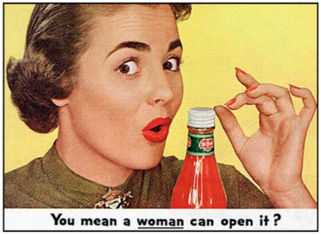 """A vintage ad for ketchup that shows a woman saying """"you mean a WOMAN can open it?"""""""