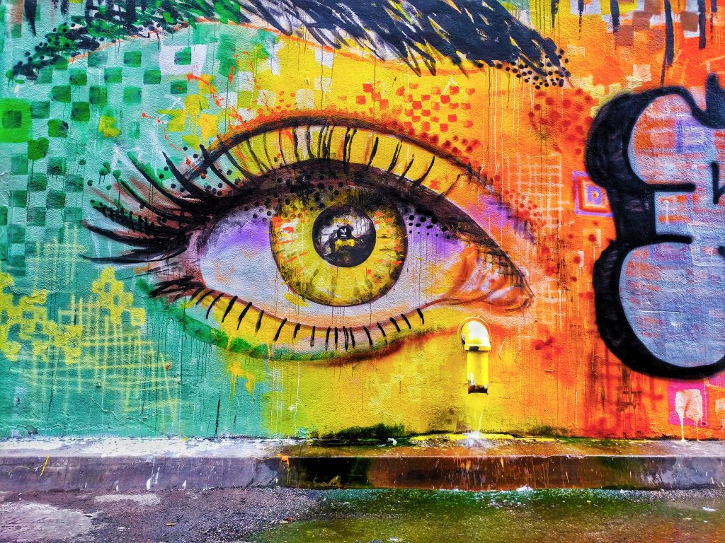 A mural that's painted with an eye.