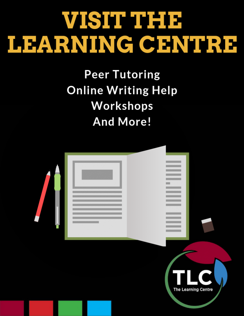 """Open textbook with pencils, text above: """"Visit the Learning Centre - peer tutoring, online writing help, workshops, and more!"""""""