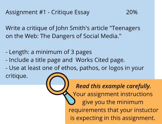 "Assignment #1 - Critique Essay 20% Write a critique of John Smith's article ""Teenagers on the Web: The Dangers of Social Media."" - Length: a minimum of3 pages - Include a title page and Works Cited page. - Use at least one of ethos, pathos, or logos in your cnflque. Read this example carefully. Your assignment instructions give you the minimum requirements that your instuctor is expecting in this assignment."